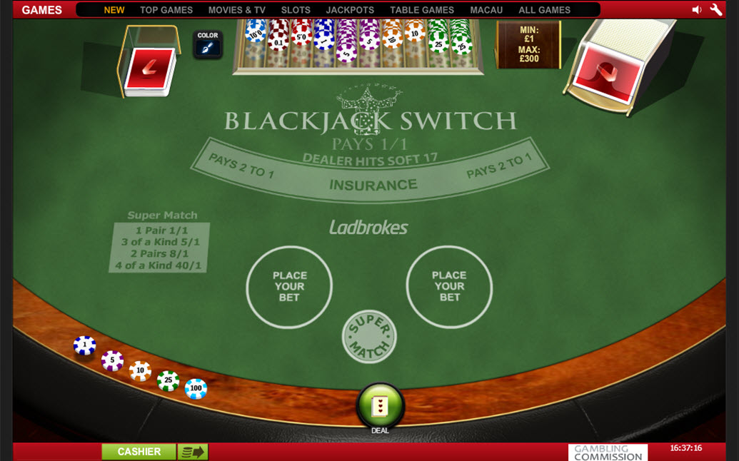 Play Blackjack Switch at Casino.com UK
