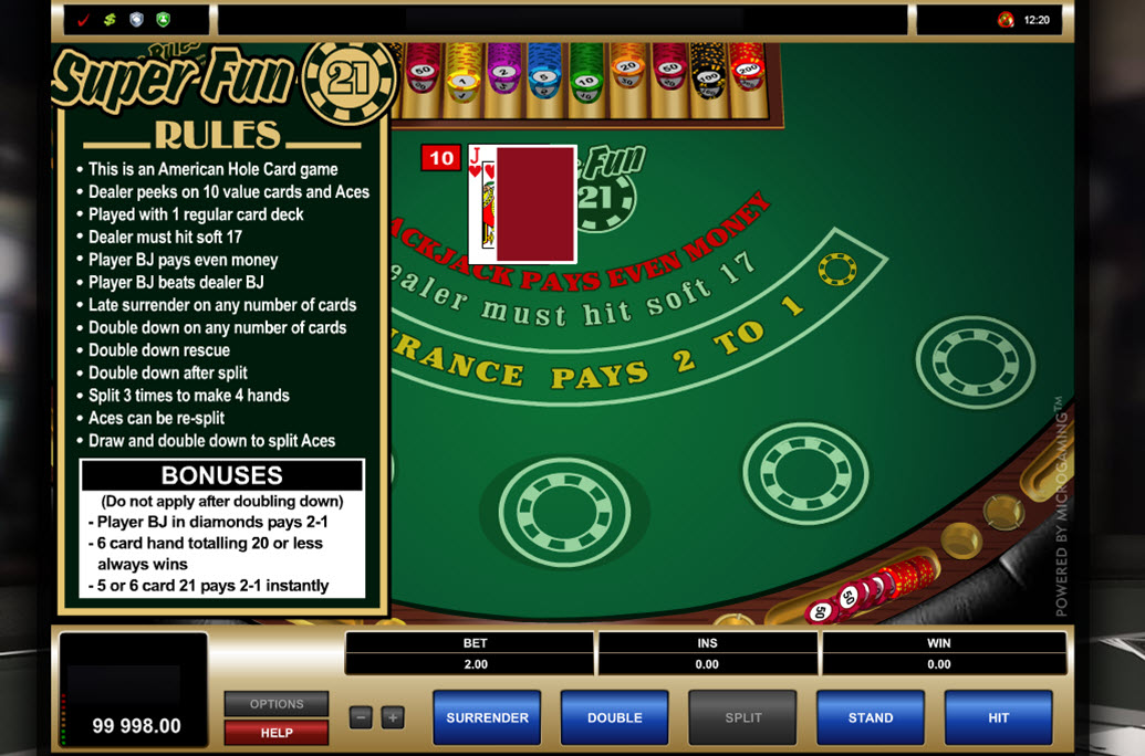 Play Blackjack Super 21 at Casino.com UK